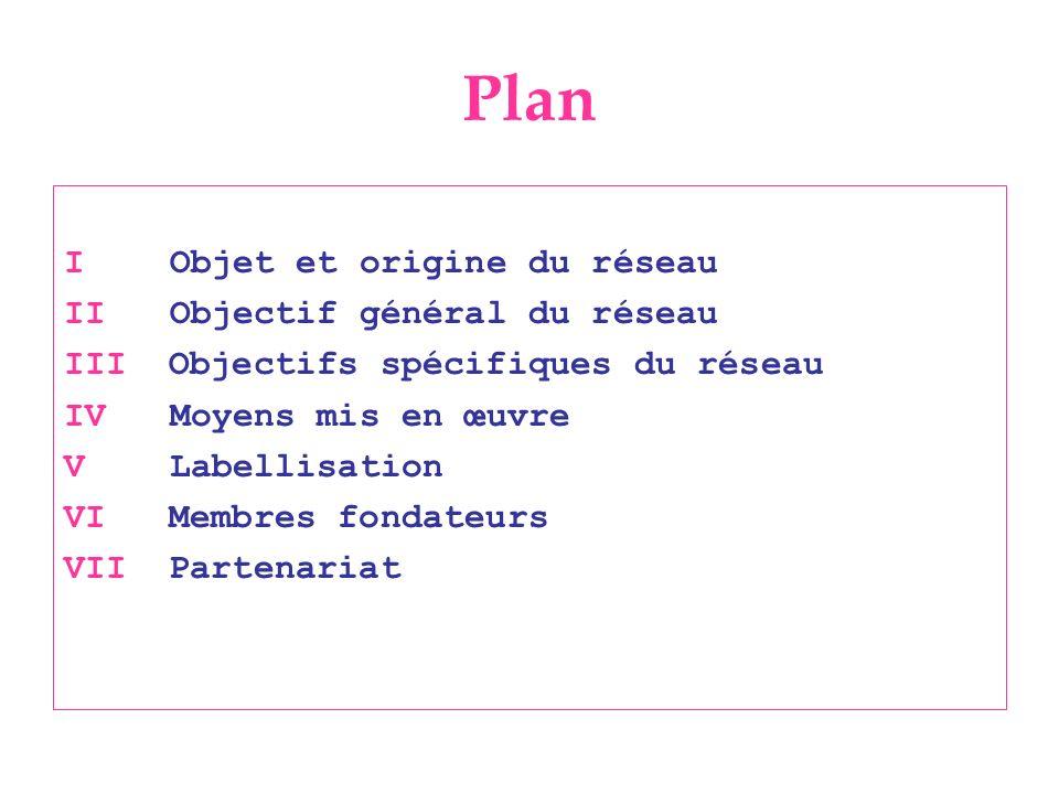 Plan I Objet et origine du réseau II Objectif général du réseau III Objectifs spécifiques du réseau IV Moyens mis en œuvre V Labellisation VI Membres