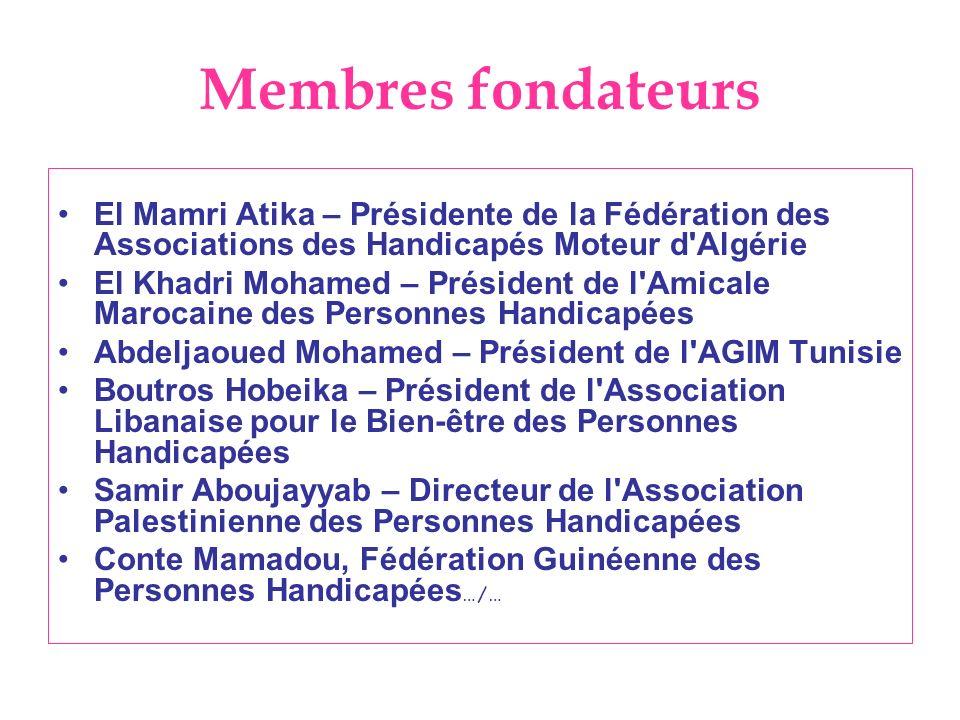 Membres fondateurs El Mamri Atika – Présidente de la Fédération des Associations des Handicapés Moteur d'Algérie El Khadri Mohamed – Président de l'Am
