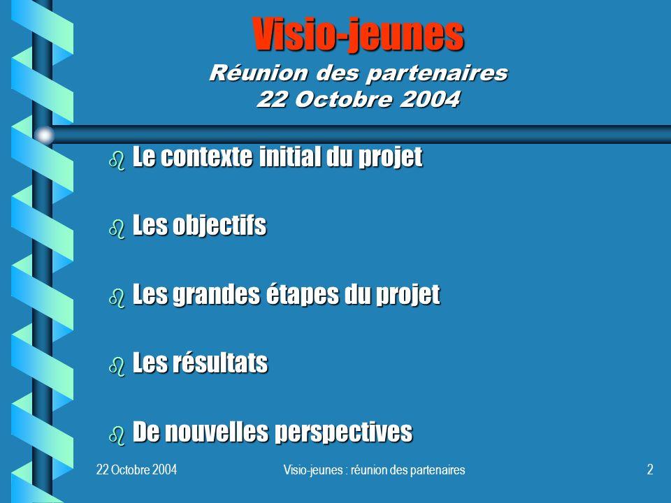 Visio-jeunes : réunion des partenaires2 Visio-jeunes b Le contexte initial du projet b Les objectifs b Les grandes étapes du projet b Les résultats b