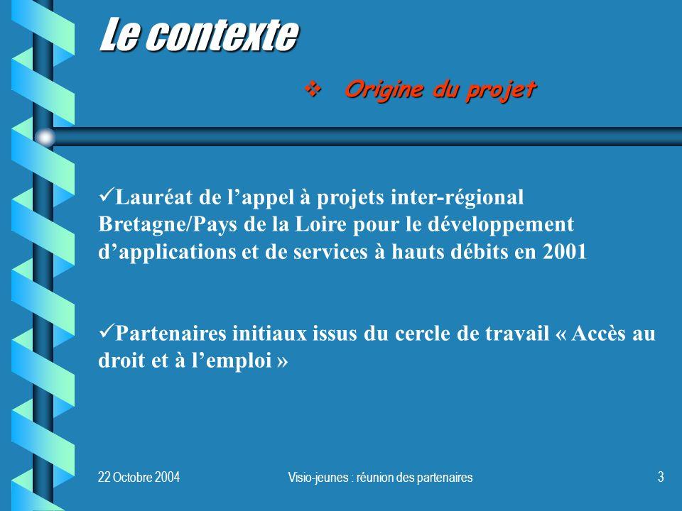 Visio-jeunes : réunion des partenaires3 Le contexte Lauréat de lappel à projets inter-régional Bretagne/Pays de la Loire pour le développement dapplic