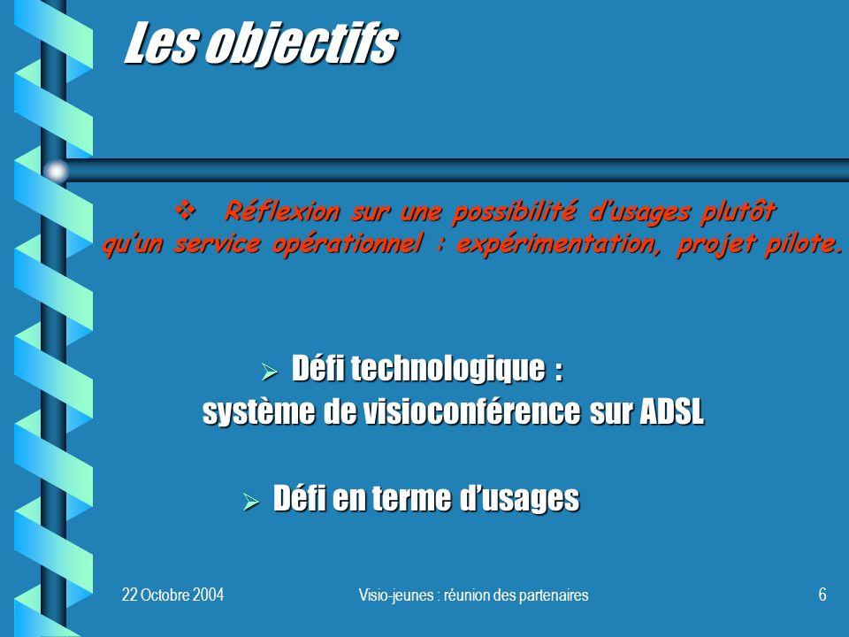 22 Octobre 2004Visio-jeunes : réunion des partenaires6 Défi technologique : Défi technologique : système de visioconférence sur ADSL Défi en terme dus