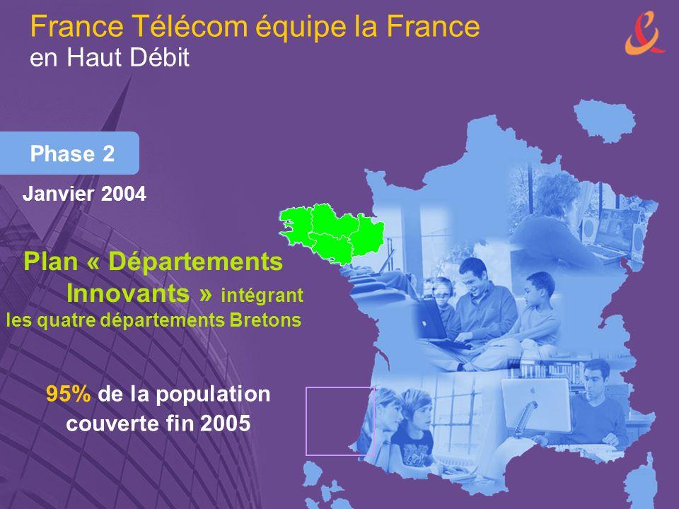 Phase 2 Plan « Départements Innovants » intégrant les quatre départements Bretons 95% de la population couverte fin 2005 France Télécom équipe la France en Haut Débit Janvier 2004