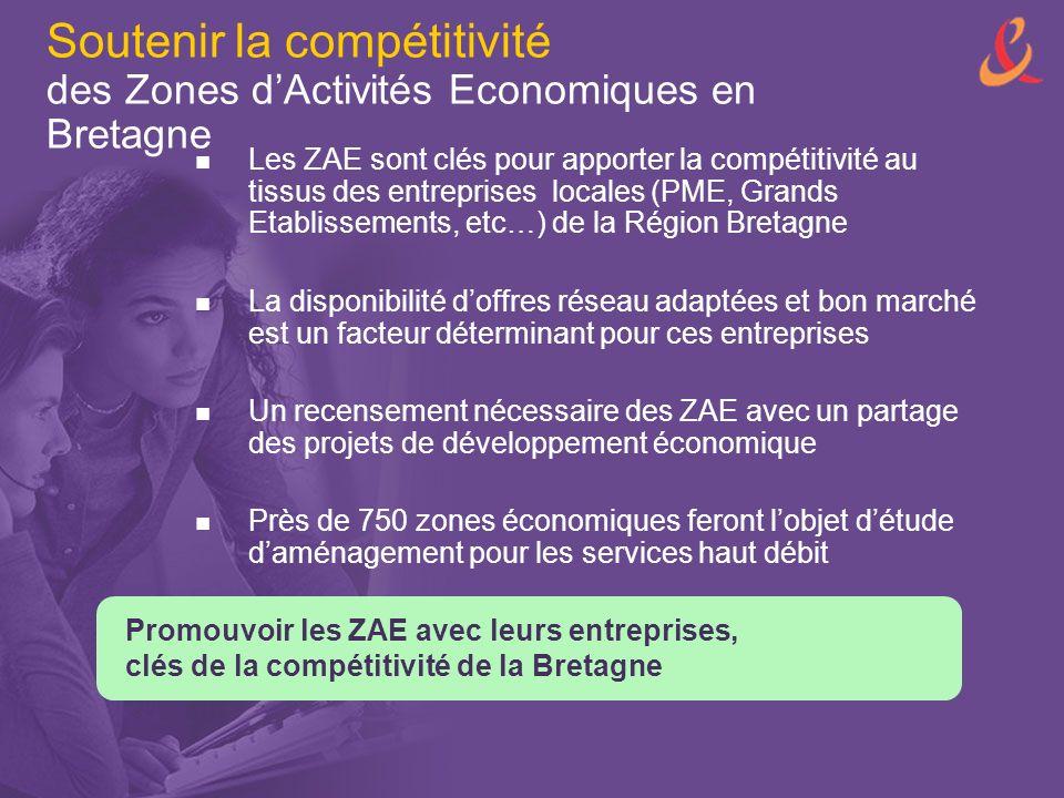 Soutenir la compétitivité des Zones dActivités Economiques en Bretagne Les ZAE sont clés pour apporter la compétitivité au tissus des entreprises locales (PME, Grands Etablissements, etc…) de la Région Bretagne La disponibilité doffres réseau adaptées et bon marché est un facteur déterminant pour ces entreprises Un recensement nécessaire des ZAE avec un partage des projets de développement économique Près de 750 zones économiques feront lobjet détude daménagement pour les services haut débit Promouvoir les ZAE avec leurs entreprises, clés de la compétitivité de la Bretagne