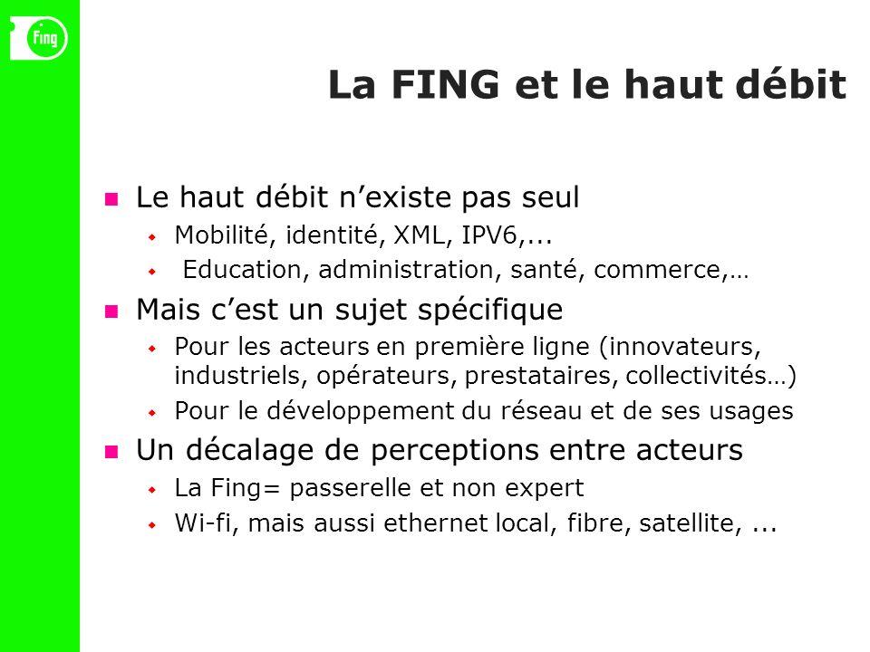 La FING et le haut débit Le haut débit nexiste pas seul Mobilité, identité, XML, IPV6,...