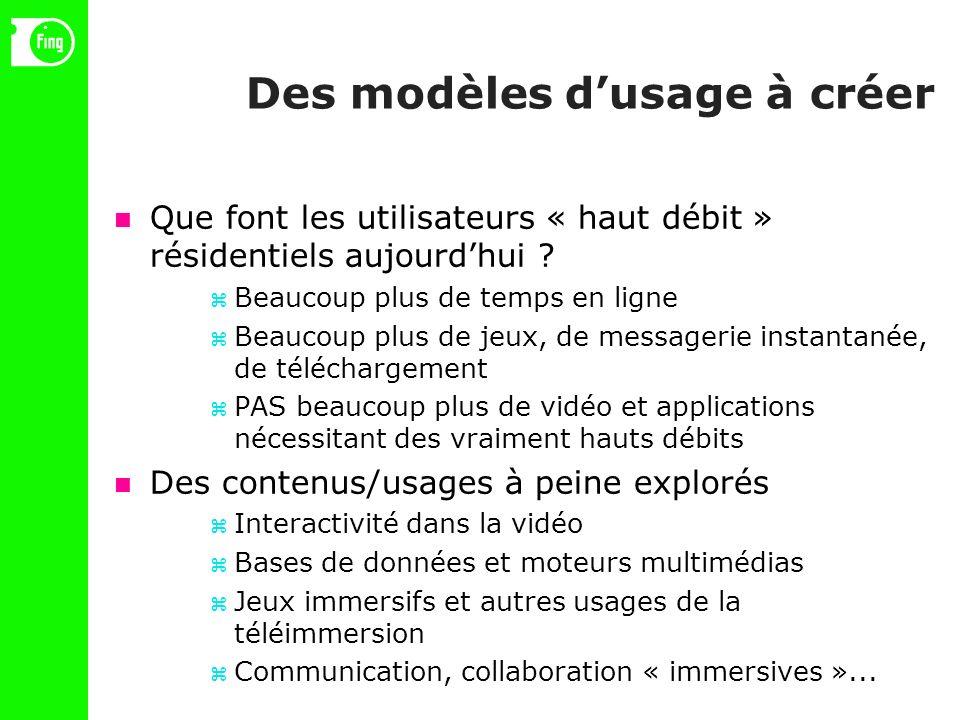 Des modèles dusage à créer Que font les utilisateurs « haut débit » résidentiels aujourdhui .