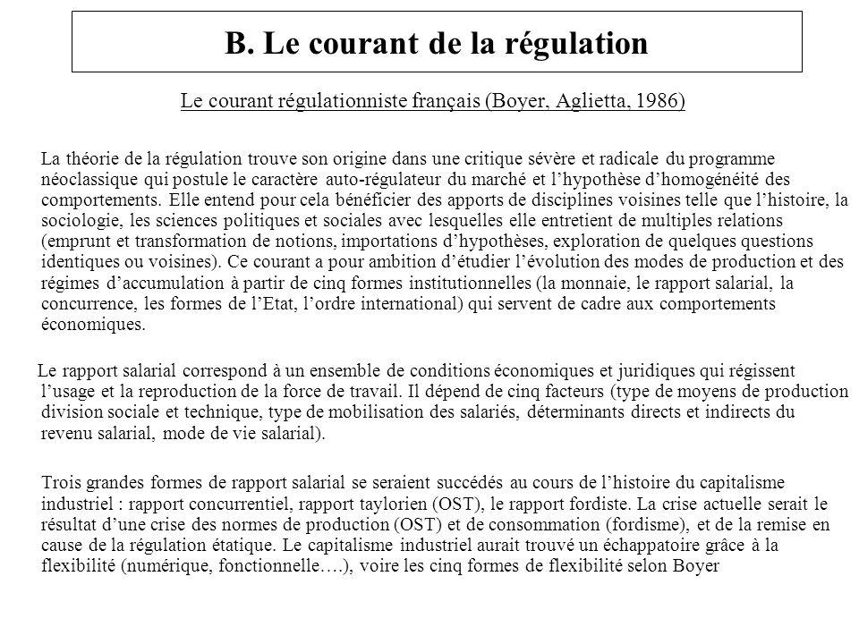 B. Le courant de la régulation Le courant régulationniste français (Boyer, Aglietta, 1986) La théorie de la régulation trouve son origine dans une cri