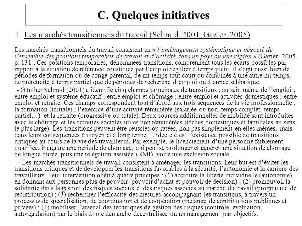 C. Quelques initiatives 1. Les marchés transitionnels du travail (Schmid, 2001; Gazier, 2005) Les marchés transitionnels du travail consistent en « la
