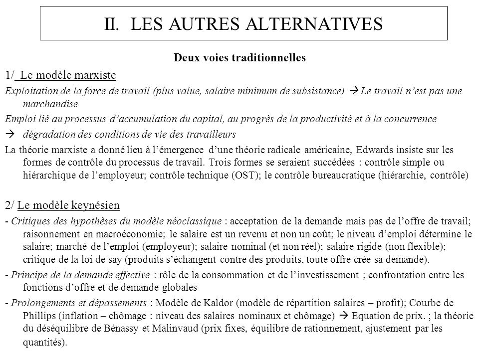 II. LES AUTRES ALTERNATIVES Deux voies traditionnelles 1/ Le modèle marxiste Exploitation de la force de travail (plus value, salaire minimum de subsi