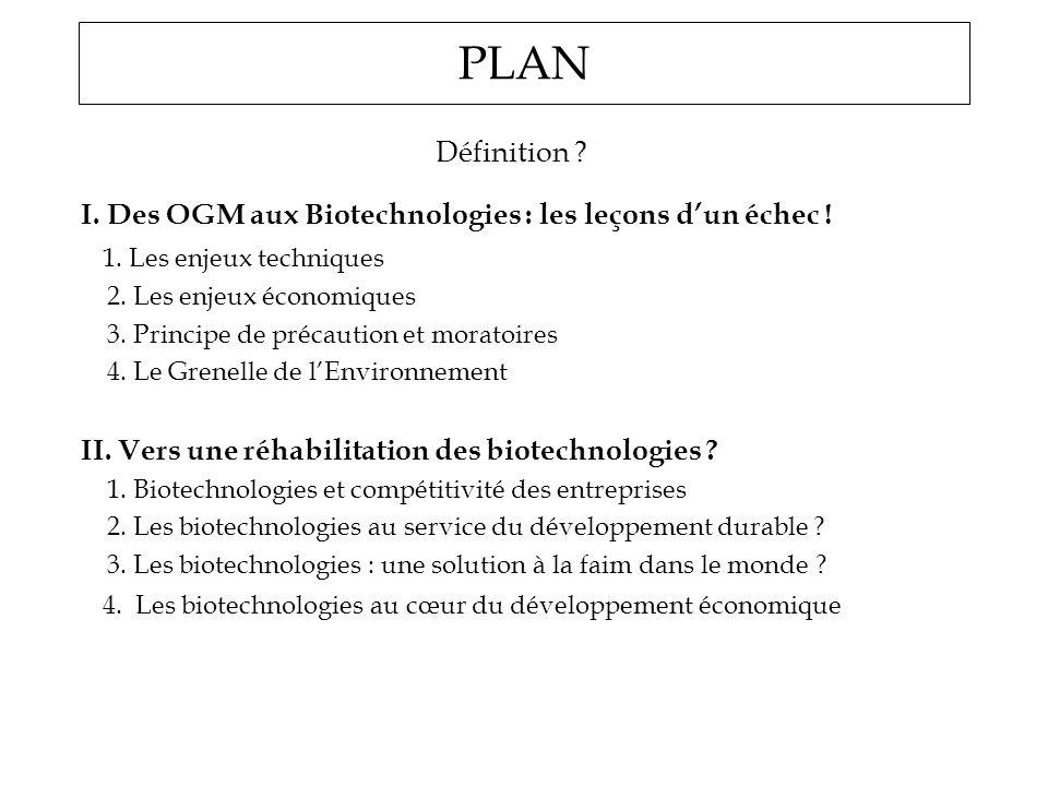 PLAN Définition ? I. Des OGM aux Biotechnologies : les leçons dun échec ! 1. Les enjeux techniques 2. Les enjeux économiques 3. Principe de précaution