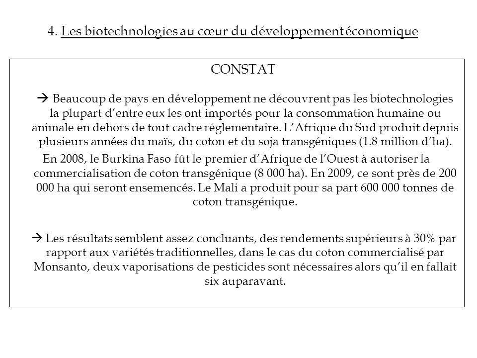 4. Les biotechnologies au cœur du développement économique CONSTAT Beaucoup de pays en développement ne découvrent pas les biotechnologies la plupart