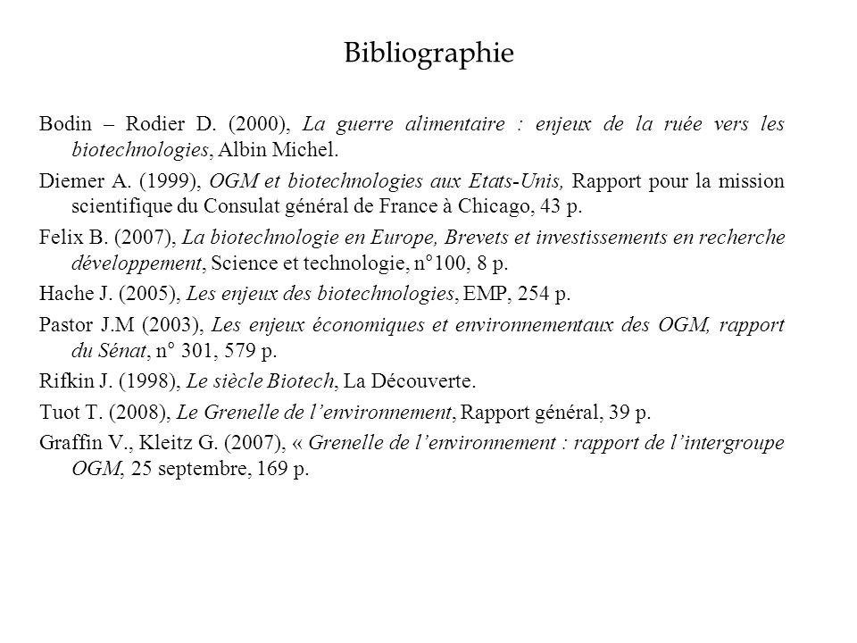 Bibliographie Bodin – Rodier D. (2000), La guerre alimentaire : enjeux de la ruée vers les biotechnologies, Albin Michel. Diemer A. (1999), OGM et bio
