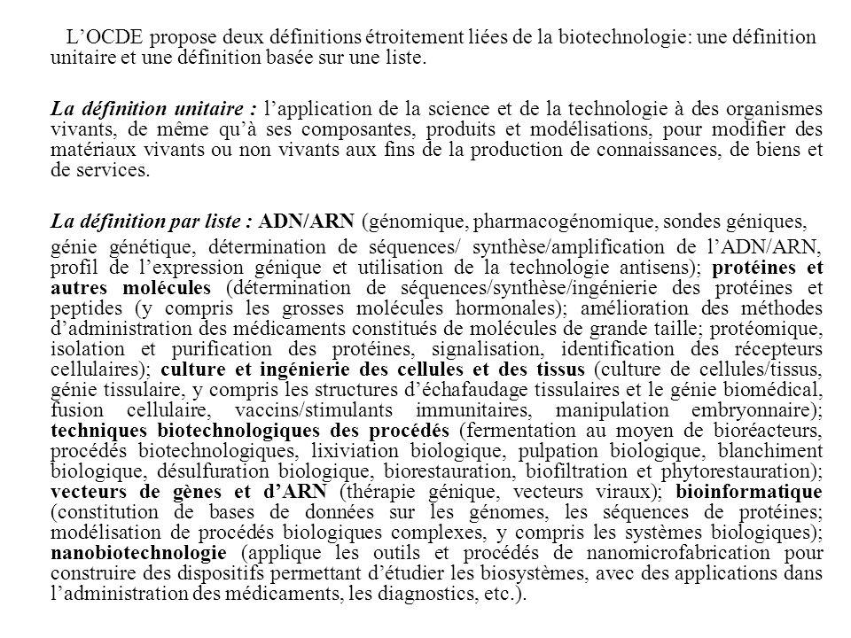 LOCDE propose deux définitions étroitement liées de la biotechnologie: une définition unitaire et une définition basée sur une liste. La définition un