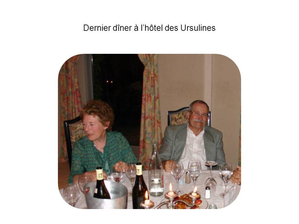 Dernier dîner à lhôtel des Ursulines