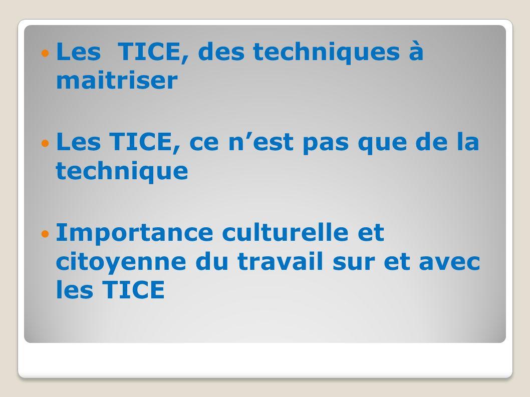 Les TICE, des techniques à maitriser Les TICE, ce nest pas que de la technique Importance culturelle et citoyenne du travail sur et avec les TICE