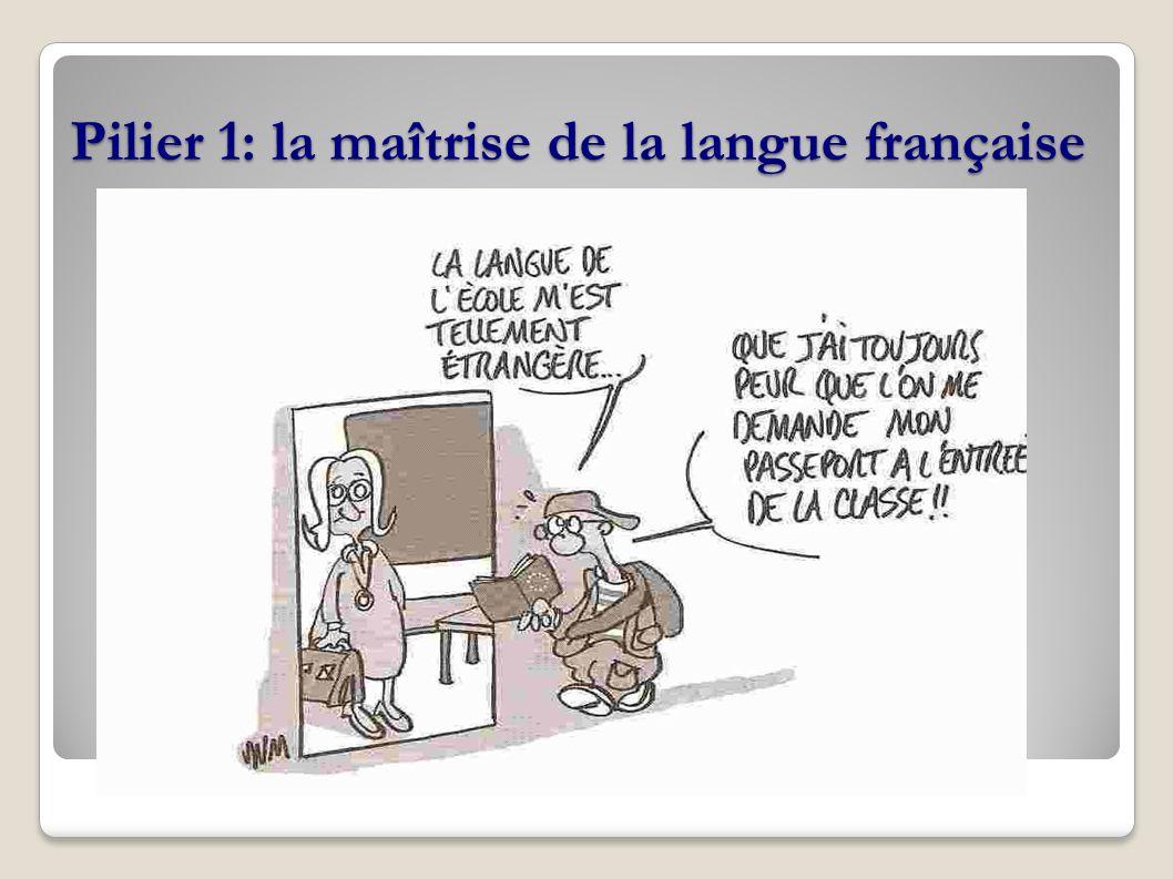 Pilier 1: la maîtrise de la langue française