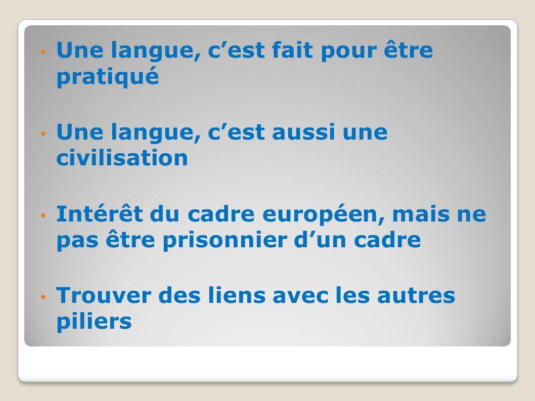 Une langue, cest fait pour être pratiqué Une langue, cest aussi une civilisation Intérêt du cadre européen, mais ne pas être prisonnier dun cadre Trou