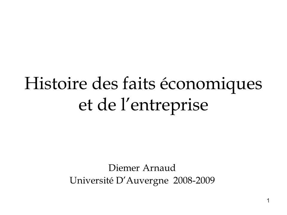 1 Histoire des faits économiques et de lentreprise Diemer Arnaud Université DAuvergne 2008-2009