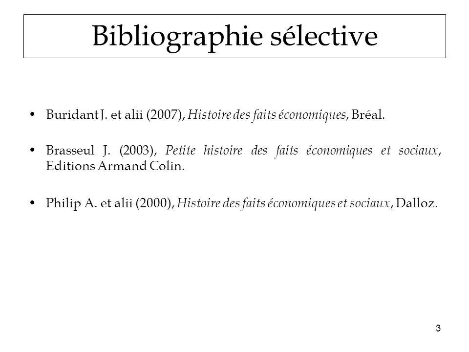 3 Bibliographie sélective Buridant J. et alii (2007), Histoire des faits économiques, Bréal.