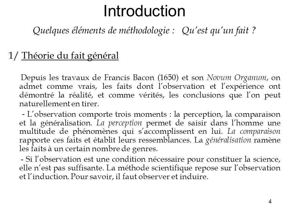 4 Introduction Quelques éléments de méthodologie : Quest quun fait .