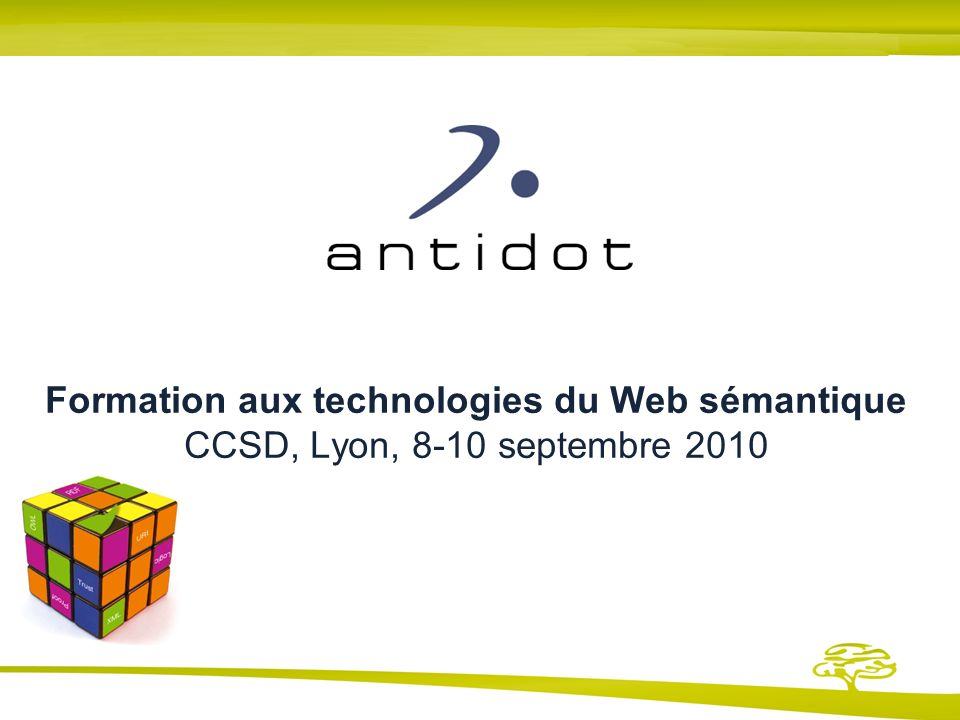Formation aux technologies du Web sémantique CCSD, Lyon, 8-10 septembre 2010