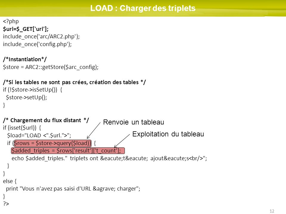 12 LOAD : Charger des triplets < php $url=$_GET[ url ]; include_once( arc/ARC2.php ); include_once( config.php ); /*Instantiation*/ $store = ARC2::getStore($arc_config); /*Si les tables ne sont pas crées, création des tables */ if (!$store->isSetUp()) { $store->setUp(); } /* Chargement du flux distant */ if (isset($url)) { $load= LOAD ; if ($rows = $store->query($load)) { $added_triples = $rows[ result ][ t_count ]; echo $added_triples. triplets ont été ajoutés ; } else { print Vous n avez pas saisi d URL à charger ; } > Renvoie un tableau Exploitation du tableau