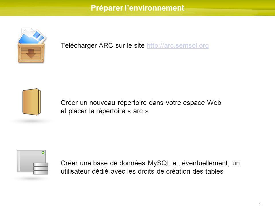 4 Préparer lenvironnement Télécharger ARC sur le site http://arc.semsol.orghttp://arc.semsol.org Créer une base de données MySQL et, éventuellement, un utilisateur dédié avec les droits de création des tables Créer un nouveau répertoire dans votre espace Web et placer le répertoire « arc »