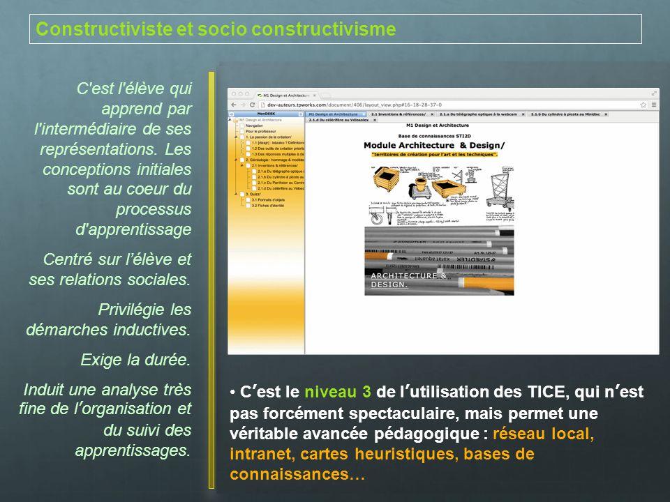 Constructiviste et socio constructivisme C'est l'élève qui apprend par l'intermédiaire de ses représentations. Les conceptions initiales sont au coeur