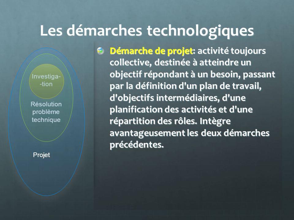 Les démarches technologiques Démarche d'investigation: active, fondée sur la manipulation, l'expérimentation, développe les logiques d'observation, d'