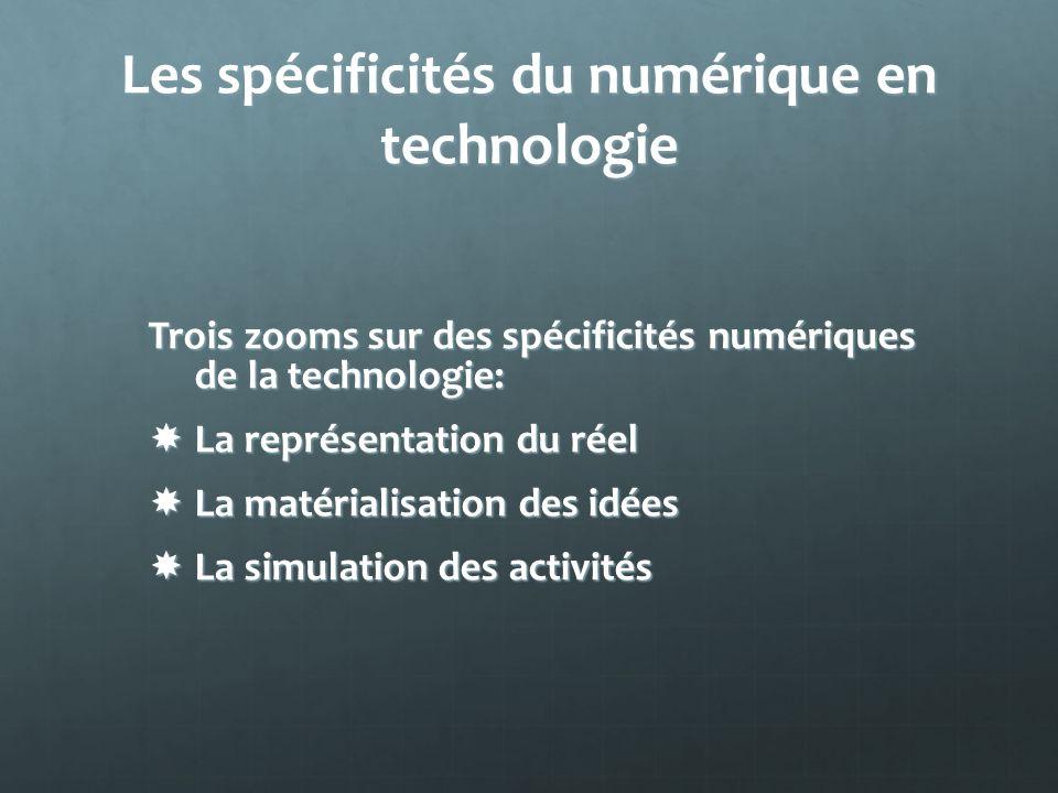 Les spécificités du numérique en technologie Trois zooms sur des spécificités numériques de la technologie: La représentation du réel La représentatio