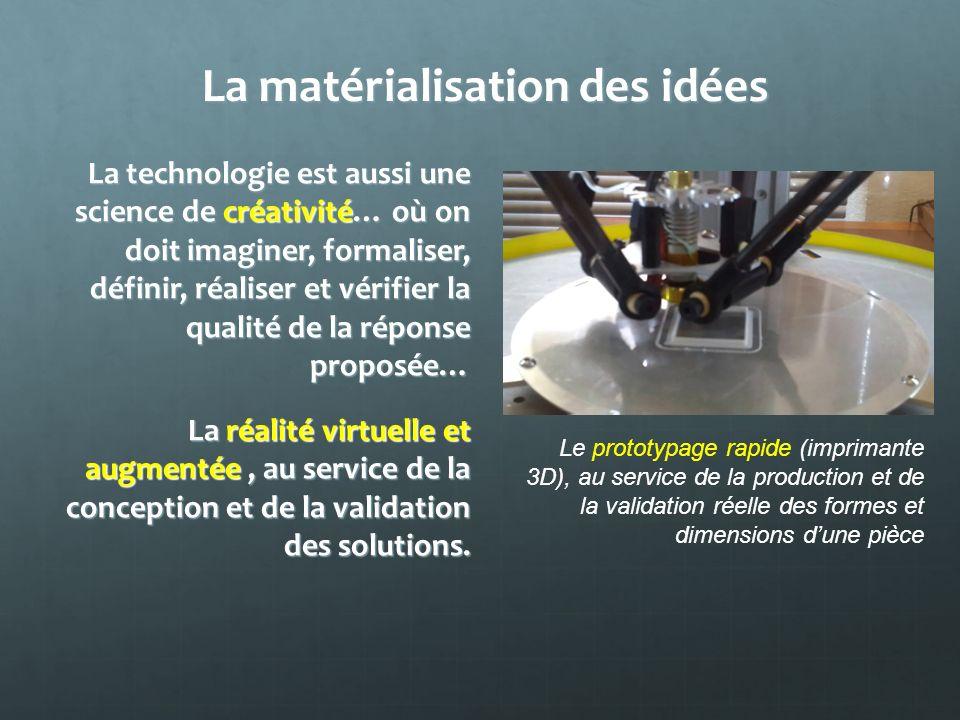La matérialisation des idées La technologie est aussi une science de créativité… où on doit imaginer, formaliser, définir, réaliser et vérifier la qua