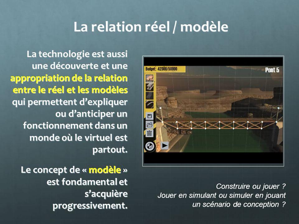 La relation réel / modèle La technologie est aussi une découverte et une appropriation de la relation entre le réel et les modèles qui permettent dexp