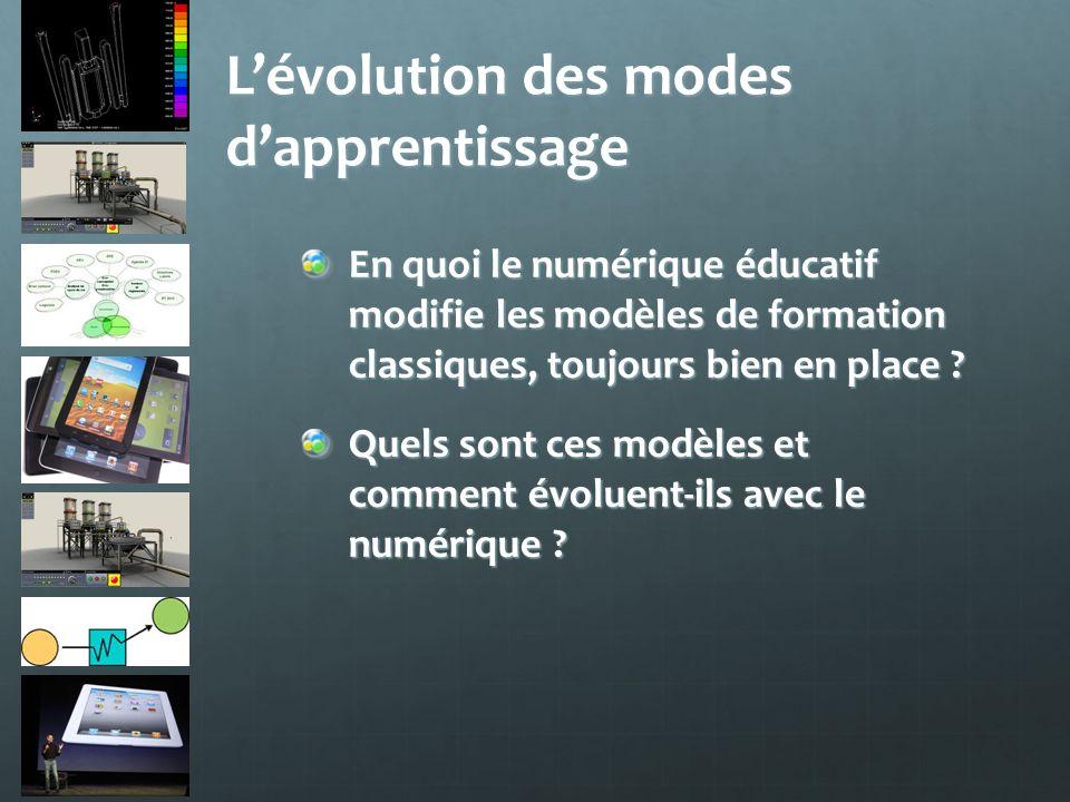 Lévolution des modes dapprentissage En quoi le numérique éducatif modifie les modèles de formation classiques, toujours bien en place ? Quels sont ces