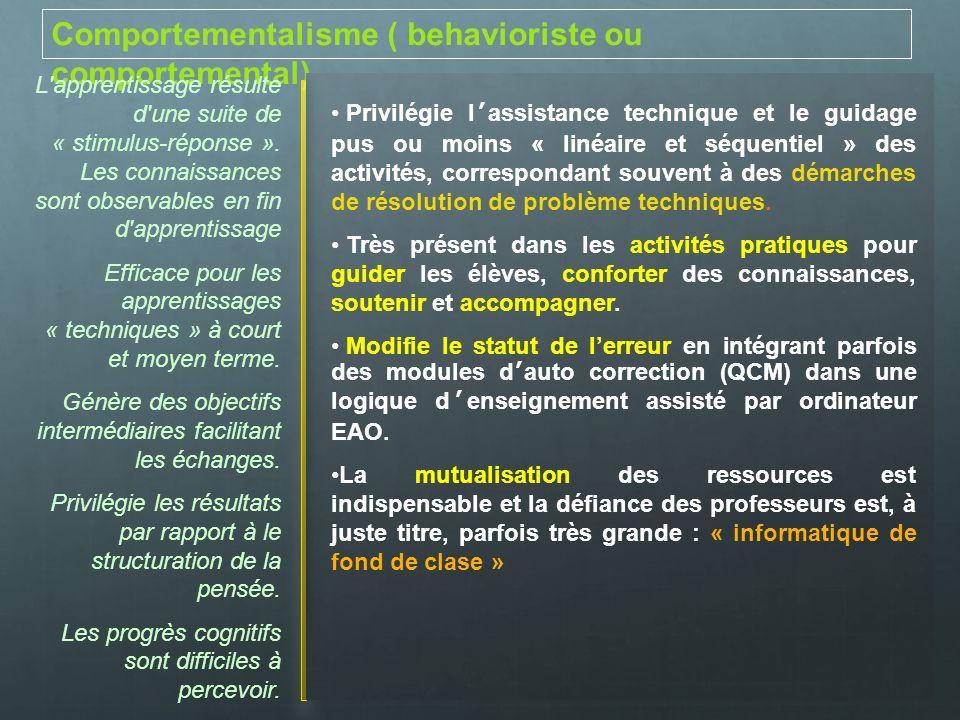 Comportementalisme ( behavioriste ou comportemental) L'apprentissage résulte d'une suite de « stimulus-réponse ». Les connaissances sont observables e