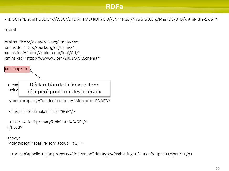 20 <html xmlns = http://www.w3.org/1999/xhtml xmlns:dc= http://purl.org/dc/terms/ xmlns:foaf= http://xmlns.com/foaf/0.1/ xmlns:xsd= http://www.w3.org/2001/XMLSchema# xml:lang= fr > Profil RDFa à titre d exemple Je m appelle Gautier Poupeau.