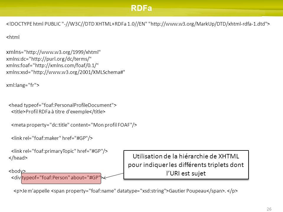 26 <html xmlns = http://www.w3.org/1999/xhtml xmlns:dc= http://purl.org/dc/terms/ xmlns:foaf= http://xmlns.com/foaf/0.1/ xmlns:xsd= http://www.w3.org/2001/XMLSchema# xml:lang= fr > Profil RDFa à titre d exemple Je m appelle Gautier Poupeau.