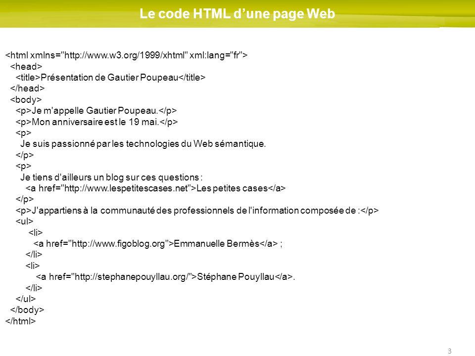 3 Le code HTML dune page Web Présentation de Gautier Poupeau Je m'appelle Gautier Poupeau. Mon anniversaire est le 19 mai. Je suis passionné par les t