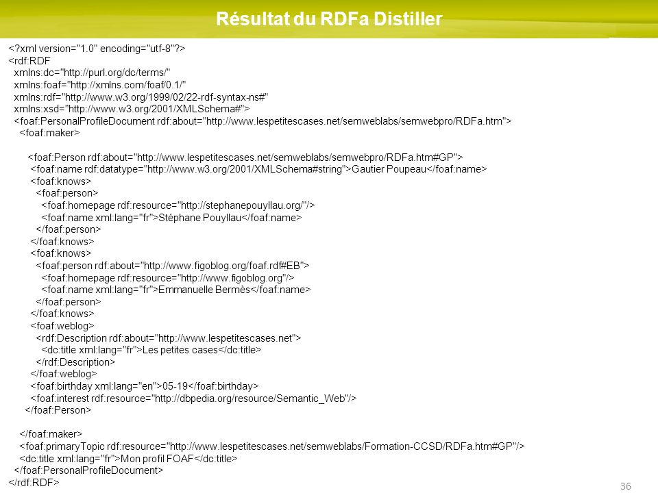 36 Résultat du RDFa Distiller <rdf:RDF xmlns:dc= http://purl.org/dc/terms/ xmlns:foaf= http://xmlns.com/foaf/0.1/ xmlns:rdf= http://www.w3.org/1999/02/22-rdf-syntax-ns# xmlns:xsd= http://www.w3.org/2001/XMLSchema# > Gautier Poupeau Stéphane Pouyllau Emmanuelle Bermès Les petites cases 05-19 Mon profil FOAF