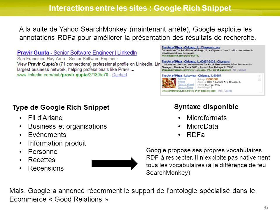 42 Interactions entre les sites : Google Rich Snippet A la suite de Yahoo SearchMonkey (maintenant arrêté), Google exploite les annotations RDFa pour