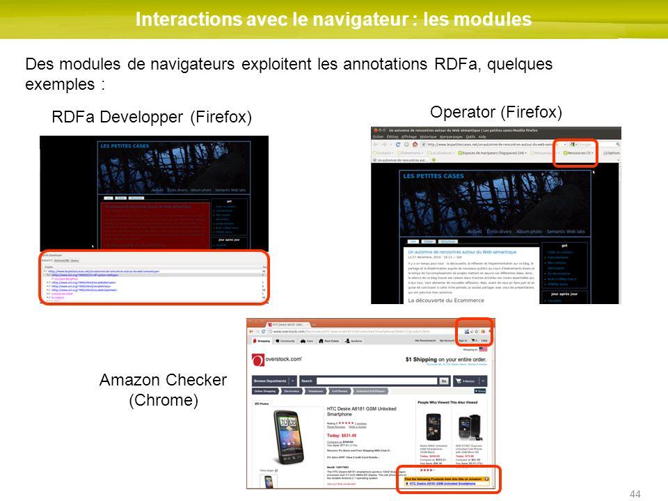 44 Interactions avec le navigateur : les modules Des modules de navigateurs exploitent les annotations RDFa, quelques exemples : RDFa Developper (Fire