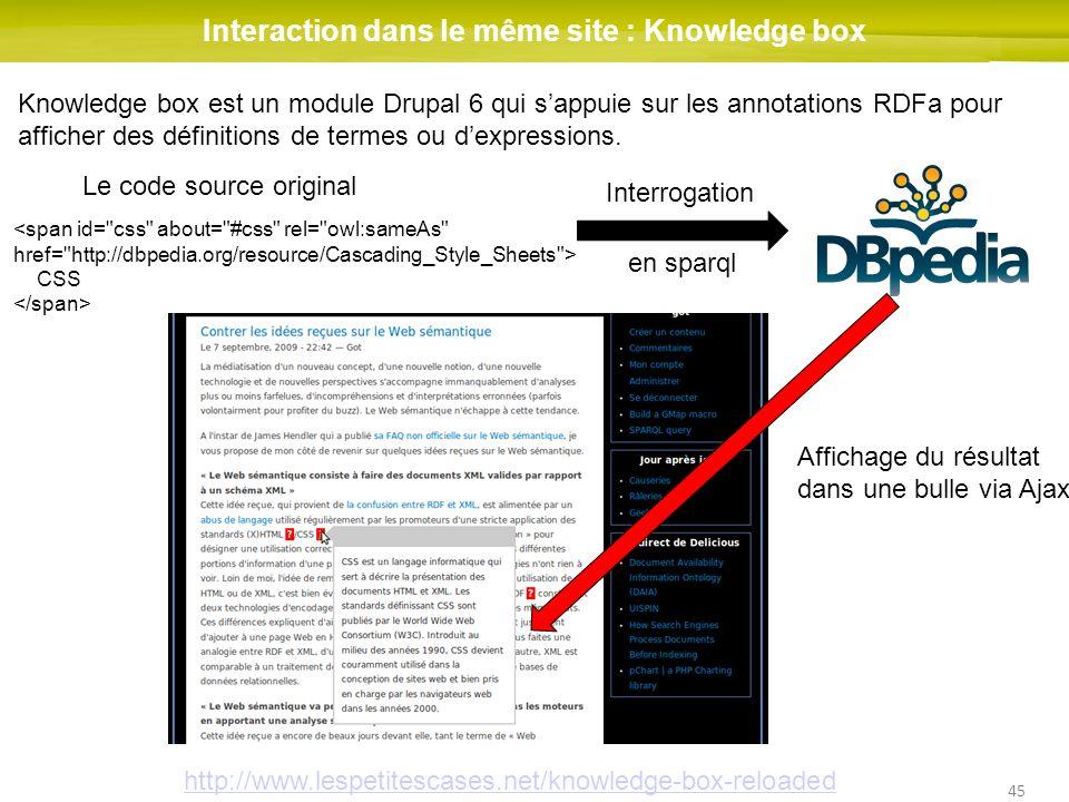 45 Interaction dans le même site : Knowledge box CSS Le code source original Interrogation en sparql Affichage du résultat dans une bulle via Ajax Kno