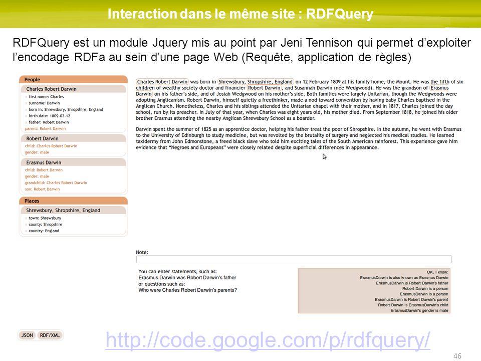 46 Interaction dans le même site : RDFQuery RDFQuery est un module Jquery mis au point par Jeni Tennison qui permet dexploiter lencodage RDFa au sein