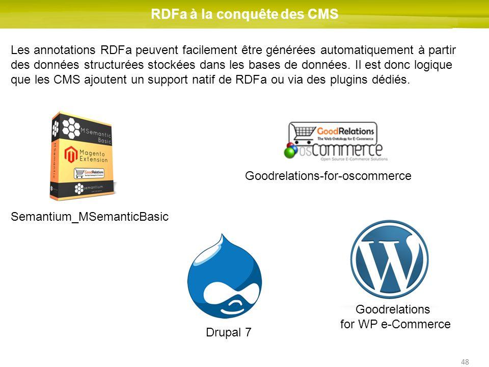 48 RDFa à la conquête des CMS Les annotations RDFa peuvent facilement être générées automatiquement à partir des données structurées stockées dans les