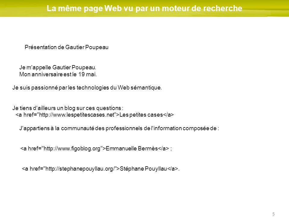 5 La même page Web vu par un moteur de recherche Présentation de Gautier Poupeau Je m'appelle Gautier Poupeau. Mon anniversaire est le 19 mai. Je suis