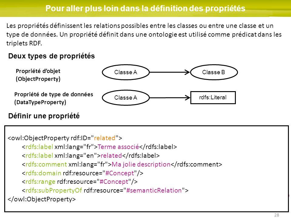 28 Pour aller plus loin dans la définition des propriétés Les propriétés définissent les relations possibles entre les classes ou entre une classe et un type de données.