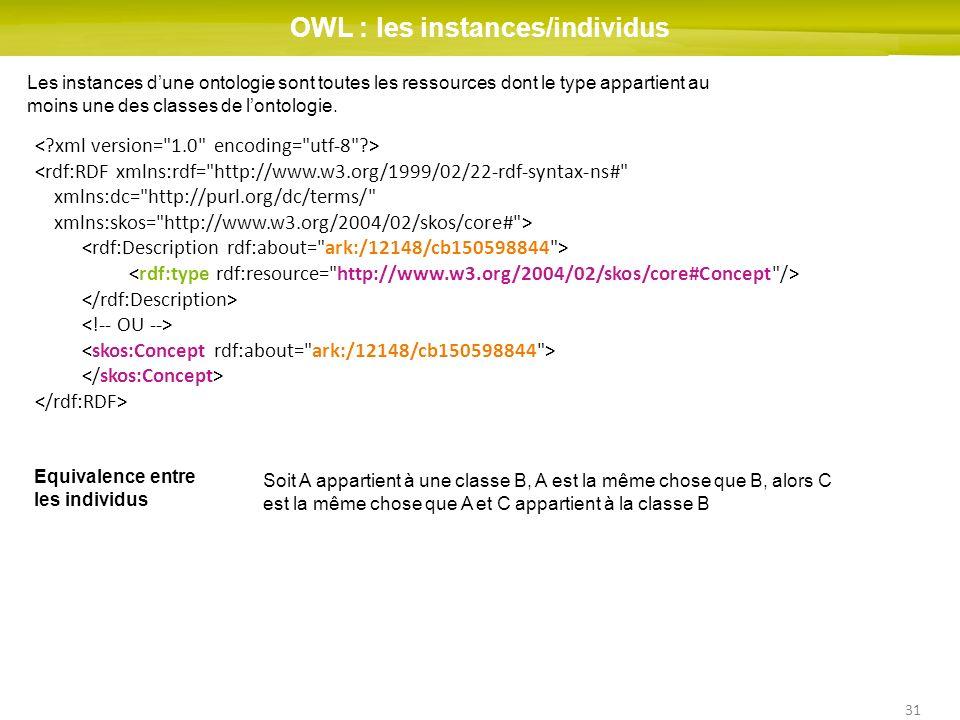 31 OWL : les instances/individus Les instances dune ontologie sont toutes les ressources dont le type appartient au moins une des classes de lontologie.