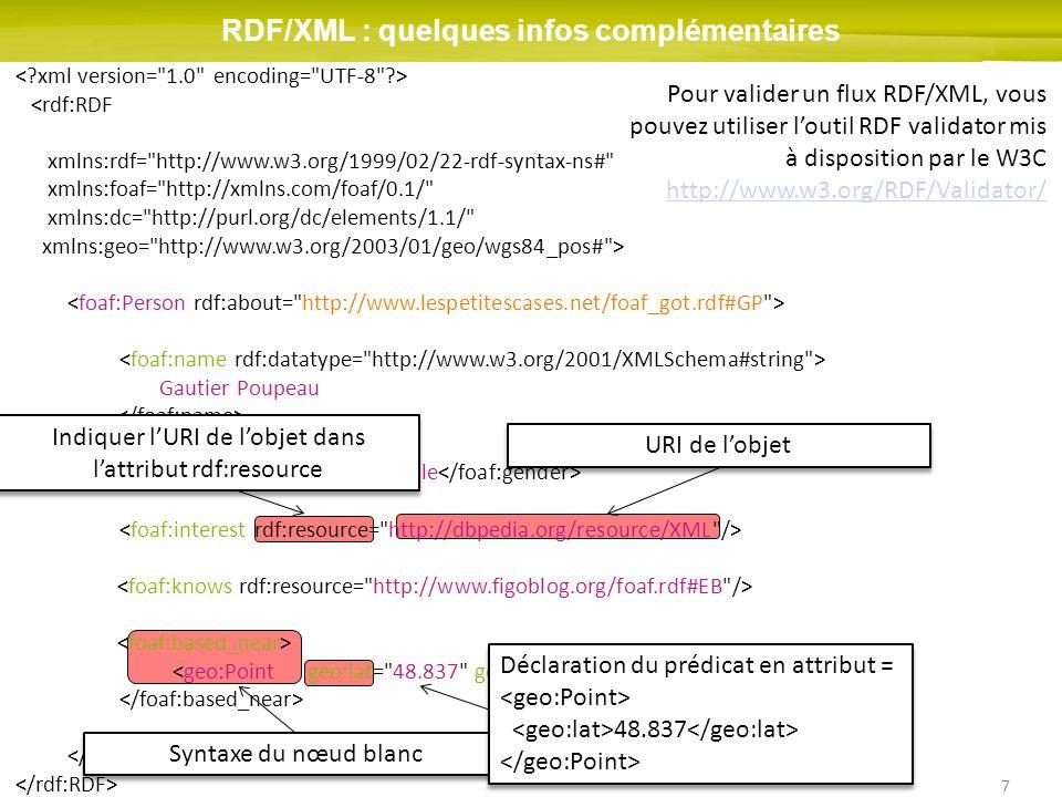 7 RDF/XML : quelques infos complémentaires <rdf:RDF xmlns:rdf= http://www.w3.org/1999/02/22-rdf-syntax-ns# xmlns:foaf= http://xmlns.com/foaf/0.1/ xmlns:dc= http://purl.org/dc/elements/1.1/ xmlns:geo= http://www.w3.org/2003/01/geo/wgs84_pos# > Gautier Poupeau male Indiquer lURI de lobjet dans lattribut rdf:resource URI de lobjet Syntaxe du nœud blanc Déclaration du prédicat en attribut = 48.837 Pour valider un flux RDF/XML, vous pouvez utiliser loutil RDF validator mis à disposition par le W3C http://www.w3.org/RDF/Validator/ http://www.w3.org/RDF/Validator/