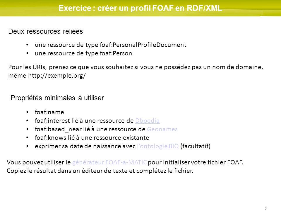 9 Exercice : créer un profil FOAF en RDF/XML Deux ressources reliées une ressource de type foaf:PersonalProfileDocument une ressource de type foaf:Person Pour les URIs, prenez ce que vous souhaitez si vous ne possédez pas un nom de domaine, même http://exemple.org/ Propriétés minimales à utiliser foaf:name foaf:interest lié à une ressource de DbpediaDbpedia foaf:based_near lié à une ressource de GeonamesGeonames foaf:knows lié à une ressource existante exprimer sa date de naissance avec lontologie BIO (facultatif)lontologie BIO Vous pouvez utiliser le générateur FOAF-a-MATIC pour initialiser votre fichier FOAF.
