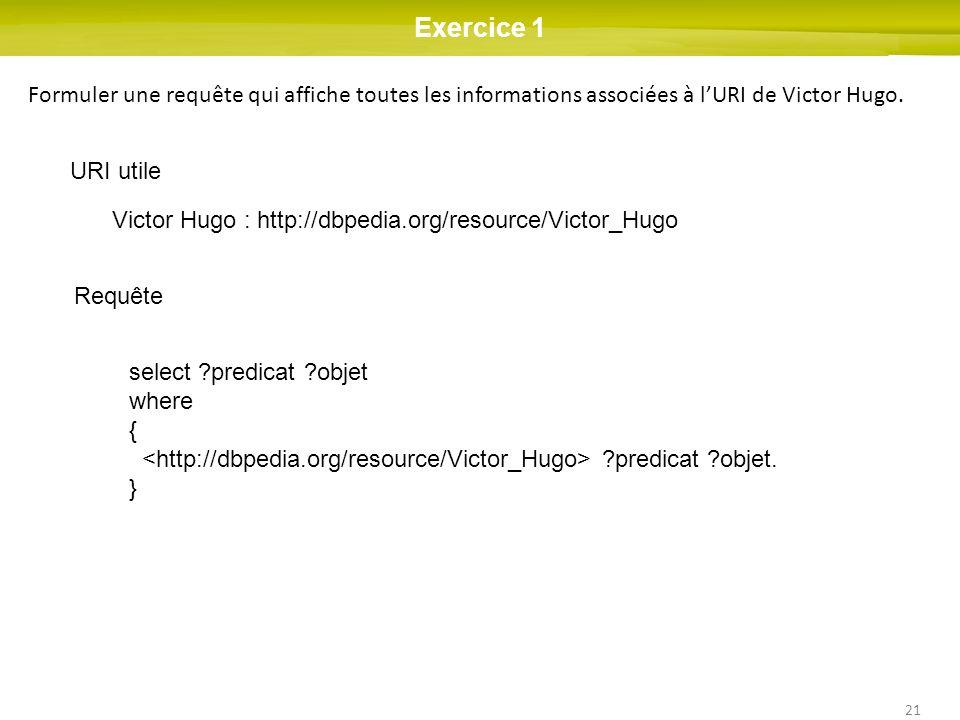 21 Exercice 1 Formuler une requête qui affiche toutes les informations associées à lURI de Victor Hugo. URI utile Victor Hugo : http://dbpedia.org/res