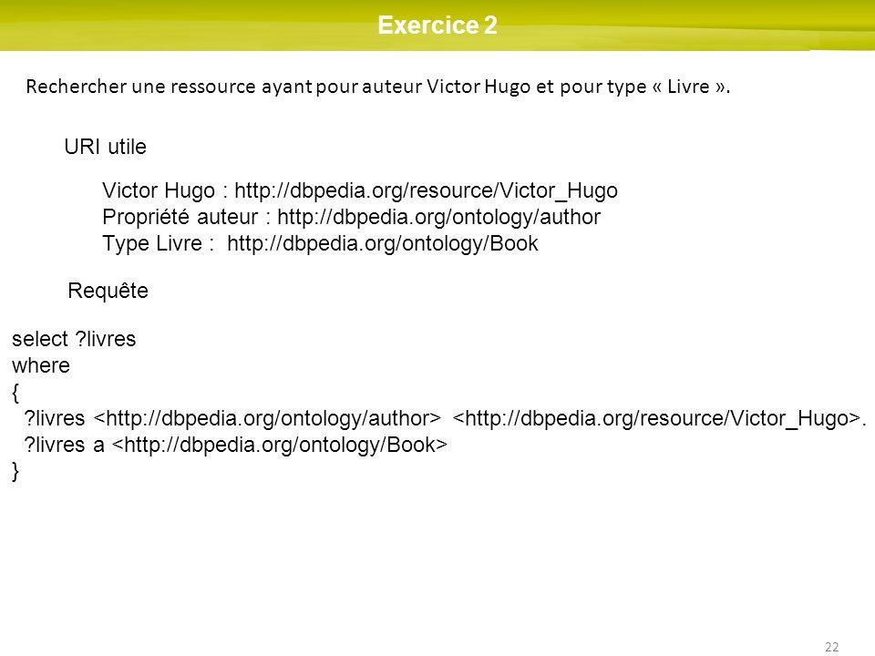 22 Exercice 2 Rechercher une ressource ayant pour auteur Victor Hugo et pour type « Livre ». URI utile Victor Hugo : http://dbpedia.org/resource/Victo