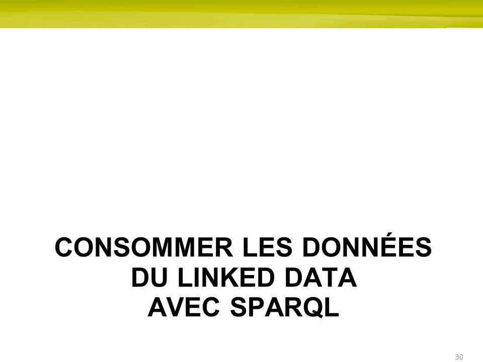 30 CONSOMMER LES DONNÉES DU LINKED DATA AVEC SPARQL